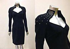 VINTAGE 1980's TADASHI SEQUIN COLLAR MIDNIGHT BLACK EVENING PARTY DRESS