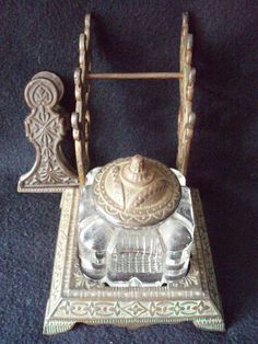Glass Inkwell Eastlake Stand Clip Cover Brass    Offered by Barntiques859 on Bonanza.com
