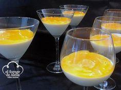 Copa de Panna cotta de vainilla con coulis de mango