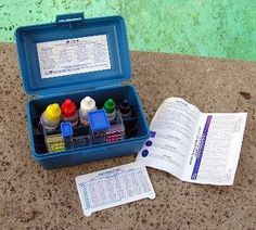 A convenient test kit includes all the materials and solutions needed to check your pool water for chlorine, pH, alkalinity, and acid demand. Semi Inground Pools, Inground Pool Designs, Solar Pool Cover, Pool Storage, Privacy Fence Designs, Pool Care, Pool Chemicals, Pool Lounge, Pool Maintenance