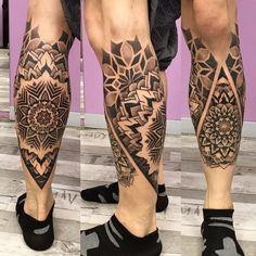 Mandala Tattoo on Calf Mandala Tattoo – Fashion Tattoos Calf Sleeve Tattoo, Calve Tattoo, Calf Tattoo Men, Knee Tattoo, Hand Tattoo, Sleeve Tattoos, Mens Leg Tattoo, Maori Tattoos, Maori Tattoo Designs
