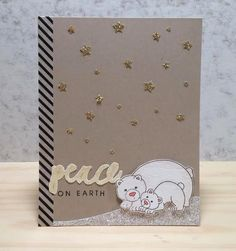 notes from Naki: Inky Paws Challenge | polar bear Holiday card | Wild Child stamp set by Newton's Nook Designs #newtonsnook