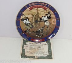 Disney Mickey Minnie Through Years Steamboat Willie Collecter Plate Bradford