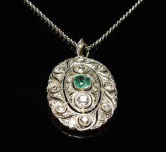 Prachtvoller Smaragd Diamant Anhänger 2 39 Ct Diamanten 14 K Weissgold UM 1930   eBay