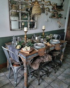 """magicalhomestead: """"An avid upcycler's elegant holiday dining room. Dining Room Design, Interior Design Living Room, Salvage Hunters, Sweet Home, Küchen Design, Design Ideas, Deco Table, Decoration Table, Bohemian Decor"""
