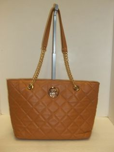 MICHAEL KORS Tan Quilted Leather Fulton East/ West Tote Handbag