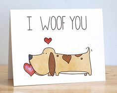 I Woof You. Love You. Dog. Pun. Blank. Love. Funny. Cute. Illustration and Lettering. 100% Percent Recycled Paper.