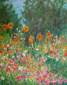 WILDFLOWER RUSH Art 10x8 Impressionist Flower by TowheeHillStudio, $168.00