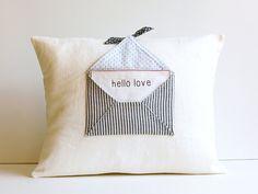 Hello Love Letter Pillow Cover Home Decor Hello Love by AppleWhite, $46.00