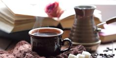 Learn how to make Turkish coffee. The unique brewing method with and or withiout the copper pot called an ibrik, also known as a cezve! Tea For Bloating, Coffee Shop, Coffee Cups, Chocolate Day, Best Tea, Turkish Coffee, Best Diets, Asparagus, Starbucks
