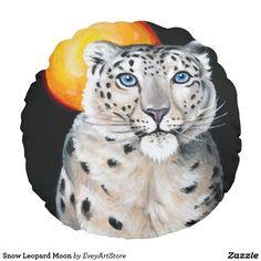 Snow Leopard Moon Round Pillow