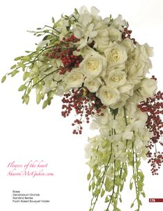 White Roses and Dendrobium Orchids highlighted by red Nandina Berries for Winter weddings. Cascading Bridal Bouquets, Flower Bouquet Wedding, White Bouquets, Dendrobium Orchids, White Roses, Unique Weddings, Flower Power, Floral Wreath, Winter Weddings