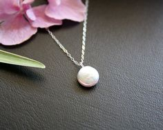 Cute flat pearl coin necklace STERLING SILVER by untie on Etsy