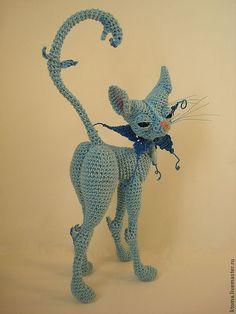 Купить Мастер- класс Коша. Авторская работа вязания игрушки - голубой, кошка, подарок девушке