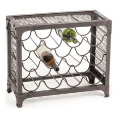 Manhattan Industrial Loft Mesh Wire Wine Rack by Kathy Kuo Home. $174.00. holds 12 wine bottles. constructed from iron. 18 inches high x 21 inches wide x 10 inches deep. rustic finish. Industrial loft style meets vino verit? in the bold reinforced frame and wrought iron fence sides of this wine rack. Lift a glass and make a toast to classic loft style!