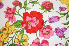 Equisite Vintage Floral Fabric - 1 Yard. $12,00, via Etsy.