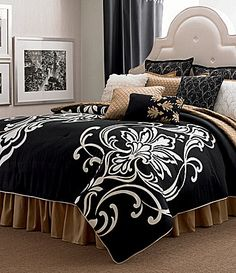candice OLSON Grand Damask Black Bedding Collection #Dillards