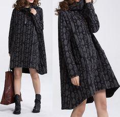 Women loose fitting High collar asymmetrical dress by MaLieb
