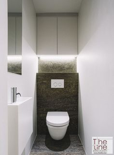 Space Saving Toilet Design for Small Bathroom - Home to Z Small Downstairs Toilet, Small Toilet Room, Guest Toilet, Bathroom Design Luxury, Bathroom Design Small, Bathroom Layout, Space Saving Toilet, Toilet Room Decor, Small Toilet Design