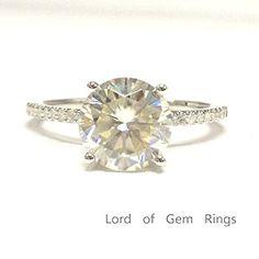$819 Round Moissanite Engagement Ring Pave Diamond Wedding 14K White Gold,8mm