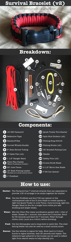 Survival Bracelet (version 2). Features 21 different items to aid in an unexpected adventure, to include: fire steel, tinder, twine, ranger band, whistle, handcuff key, knife, saw, fishing gear, zip ties, water purifier, reflective tape, and about 15 ft of rope all packed into a comfortable bracelet that's on your wrist when you need it. Check out the pic to see it all.