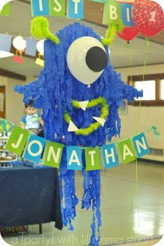 made with streamers. http://adaywithlilmama.blogspot.com/2011/05/monster-first-birthday-party.html
