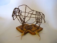 Buffalo sculpture made with recycled hay bale wire table top by Ponyart on Etsy