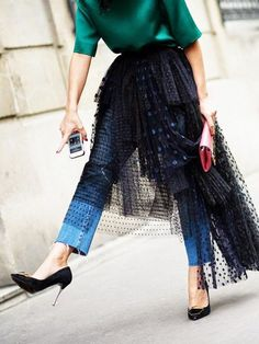 We love this look with a skirt over a trusty pair of jeans. Would you try this street style trend?