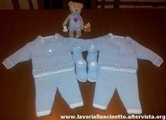Completino azzurro in cotone per neonato