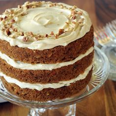 A carrot cake for a celebration - looks like the Cheesecake Factory version