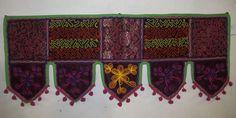 INDIAN WINDOW VALANCE TOPPER HANDICRAFTS PATCH WORK EMBROIDER VINTAGE TORAN VR30 #Handmade