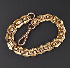 Antique Edwardian Rosy Gold Chain Bracelet  #Edwardian #Chain #Antique #Gold #Bracelet #Rose #Stud #Earrings #Collar #Tortoise