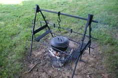 Outdoor cooking set up. Or, indoor fireplace cooking set up.