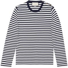 Gucci Striped Cotton Crew Neck Sweater ($690) ❤ liked on Polyvore featuring men's fashion, men's clothing, men's sweaters, men, ready to wear, mens cotton sweaters, mens crew neck sweaters, mens crewneck sweaters, mens sweaters and mens blue sweater