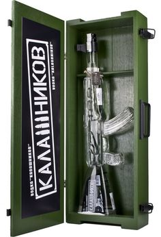 Kalashnikov AK-47 Gun Vodka in wooden box 40% 1 l: Amazon.de: Food & Beverage