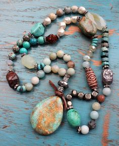 Mixed Gemstone Luxury Knotted Necklace - Earthy Colors, Turquoise Pendant, Long Bohemian Necklace