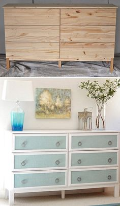 Want the best Ikea hacks? Find everything you need to know about making DIY furniture for much cheaper. Save money with these Ikea dresser hacks and more! Diy Furniture Hacks, Ikea Furniture, Furniture Projects, Painted Furniture, Bedroom Furniture, Ikea Bedroom, Furniture Stores, Wood Bedroom, Furniture Market