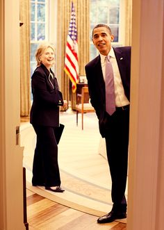 """Oh hey guys, what's up?""...A Rare Pair, But, Today, True Friends & Fellow Supporters...Clinton Challenged Obama For the 2008 Democratic Presidental Candidate, Losing By a Slim Margain...Obama Swiftly, After His Win Over McCain, Drafted Clinton As His Secretary of State....This Pair Made History...In Many Ways...And Working Together, Improved America's Standing All Over The World...Look For A Clinton-Backed 2016 Run With Obama As Main Cheerleader...Betcha!! A Unique, Brainy, Fun-Filled…"