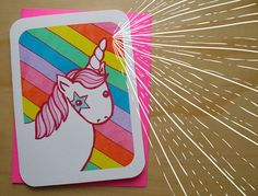 Unicorn Rainbow Magic Notecard by MyZoetrope on Etsy, $5.00