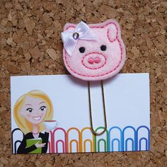 Felt Planner Clips  PIG Paper Clip  Bookmark   by TheBookNookPatch