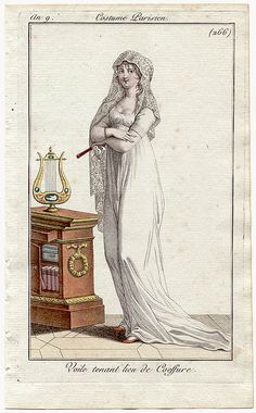 A book case full of books and lyre placed on top. A very cultured lady! Costume Parisien, an 9