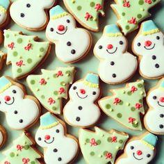 ミニクリスマスツリー&ミニスノーマンセット アイシングクッキー