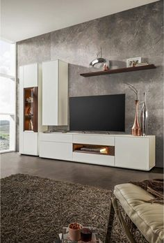 Wall unit in walnut colors, Whitecolors Living Room Wall Units, Home Living Room, Living Room Designs, Living Room Decor, Decor Room, Tv Cabinet Design, Tv Wall Design, Modern Tv Wall Units, Muebles Living