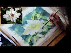 Watercolour Demo: Single White Flower Part 3 - YouTube