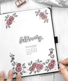 Little doodles especially the floral ones go a long way in a bullet journal. This beautiful bullet journal cover decorated by rose doodles is a creation of insta @my.life.in.a.bullet.