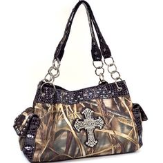 "Camo cross purse~ Every rustic gal needs a camo purse.     - Made of high quality fabric and leather-like trim - Zippered top opening - Fully lined interior includes inside zippered pocket & cell phone pouch - Zippered center divider compartment - Dual side pockets with magnetic snap closure - Silver tone hardware - Zippered back pocket - Dual carry handles with 12"" drop length - Approx. Dimension: 14.5""W x 8.5""H x 6""D"