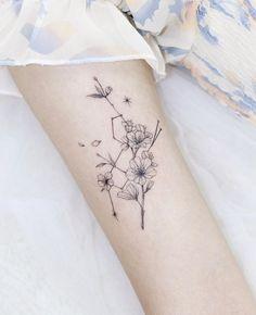 Dream Tattoos, Mini Tattoos, Tatoos, Big Dipper Tattoo, Birth Flower Tattoos, Blossom Tattoo, Body Is A Temple, Tattoo Inspiration, Sleeve Tattoos