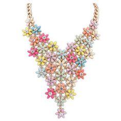 Crystal pendant necklace Korea flowers decoration pretty style SX-617-007
