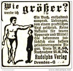 Original-Werbung/ Anzeige 1918 - WIE WERDE ICH GRÖSSER / RUDOLPHS VERLAG DRESDEN - ca. 45 x 40 mm
