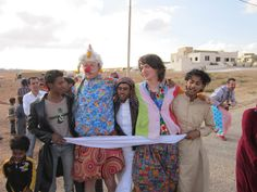Patch Adams with Syrian refugees. This man is amazing.